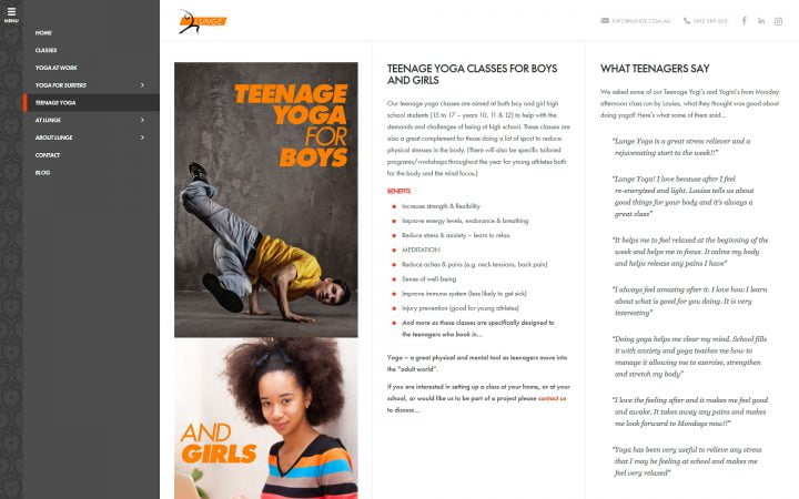 Website Redesign – Lunge Teenage Yoga