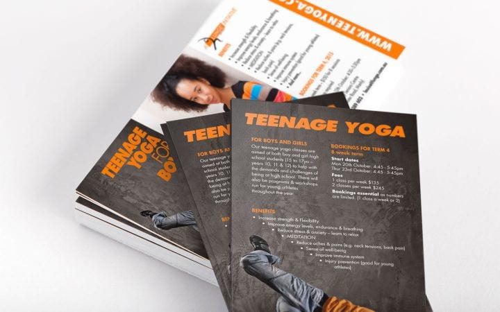 Print Design – Lunge Teenage Yoga Flyers
