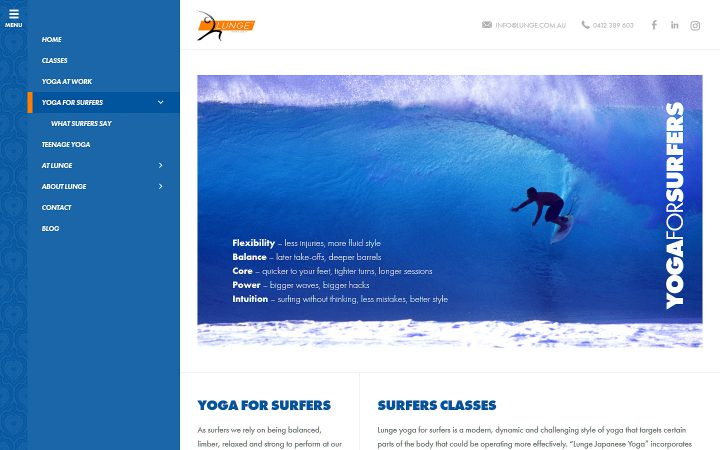 Website Redesign – Lunge Yoga for Surfers