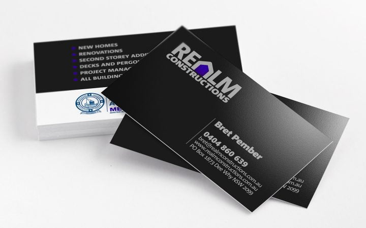 Print Design – Realm Constructions Business Cards