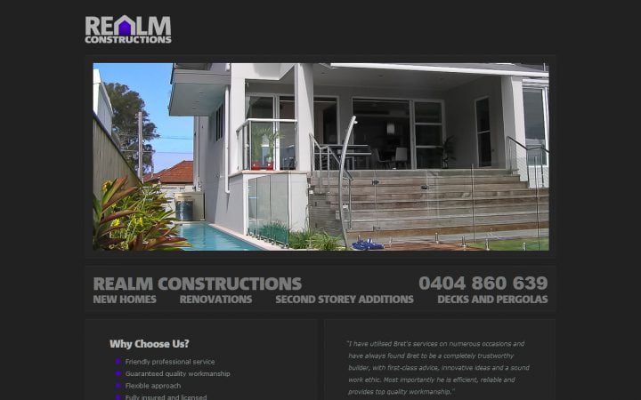 New Website Design – Realm Constructions