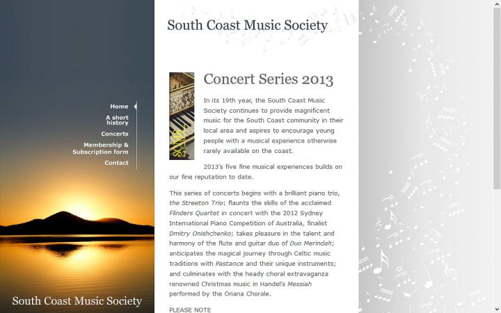 New Website Design – South Coast Music Society