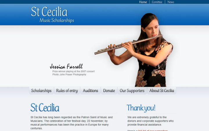 New Website Design – St Cecilia Music Scholarships