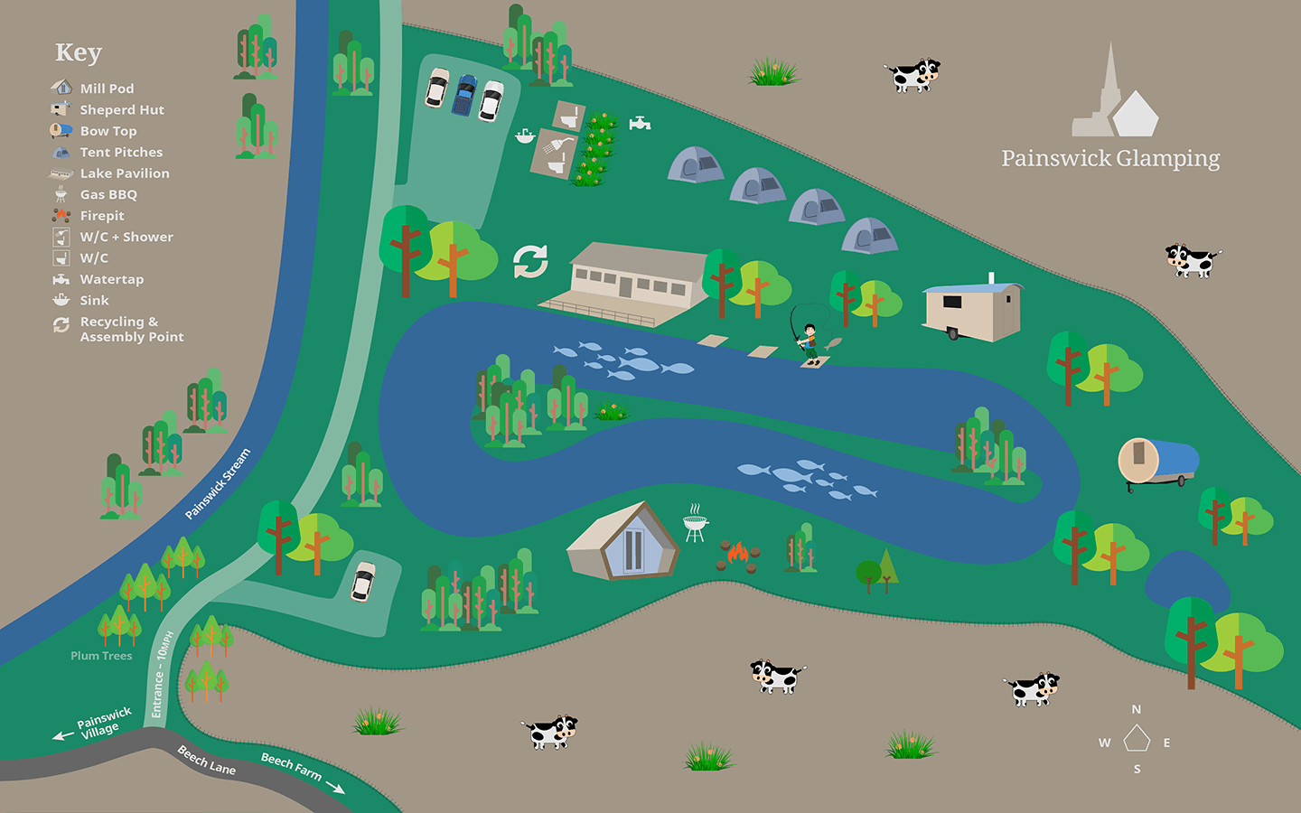 Painswick Glamping Illustrated Site Map - 2018