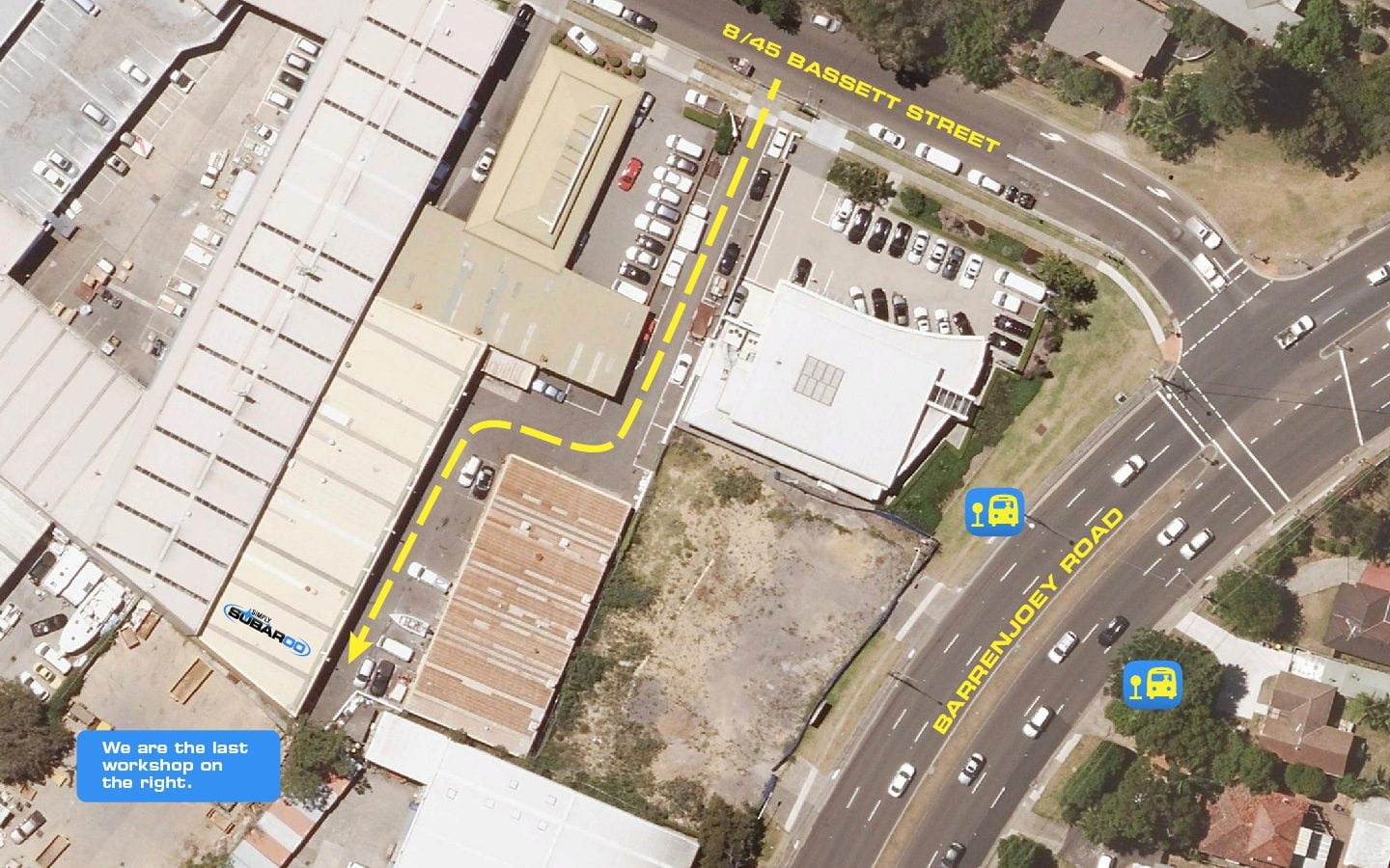 Simply Subaroo Workshop Aerial View Location Map with Overlaid Directions